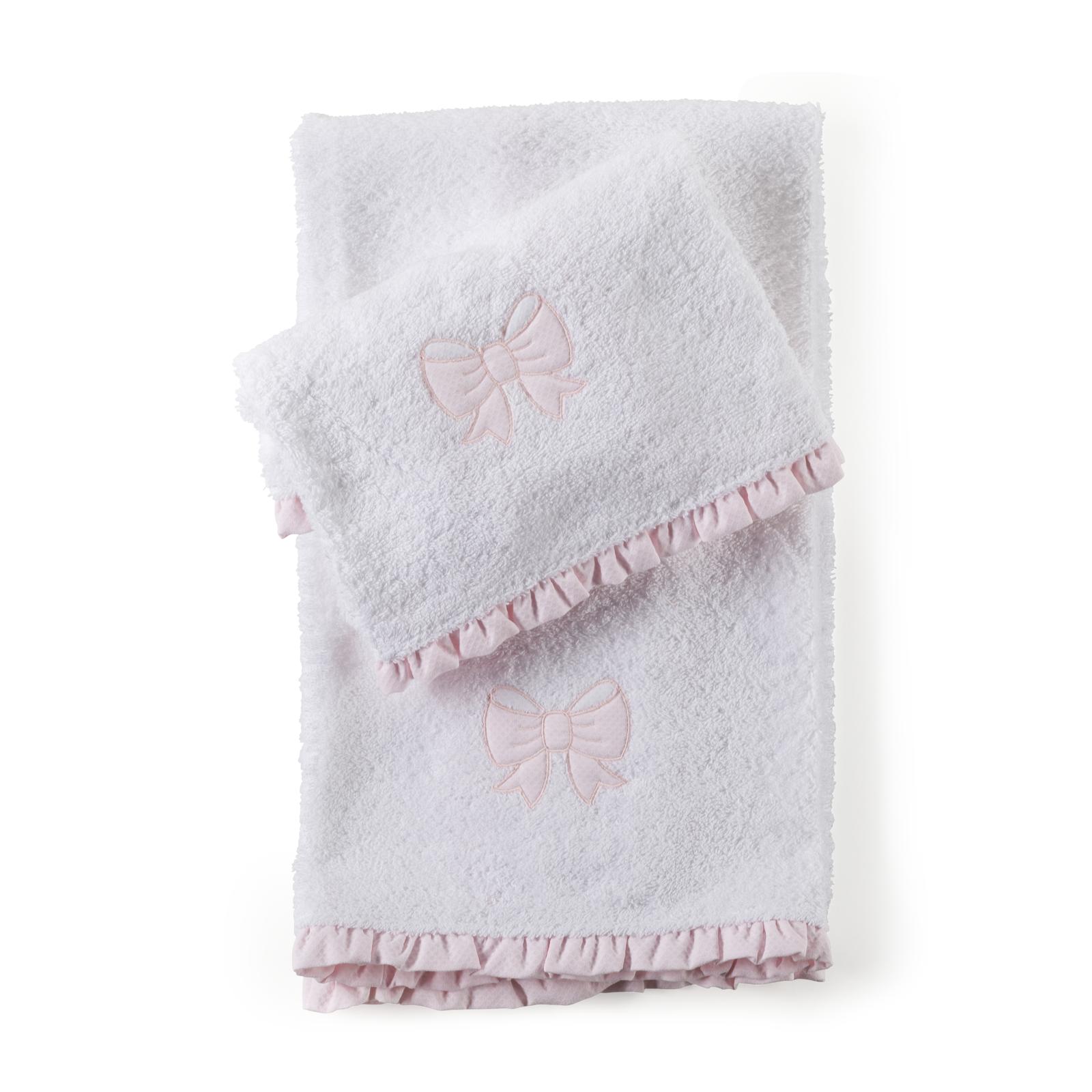 Set di asciugamani con ricamo fiocco rosa e rouches