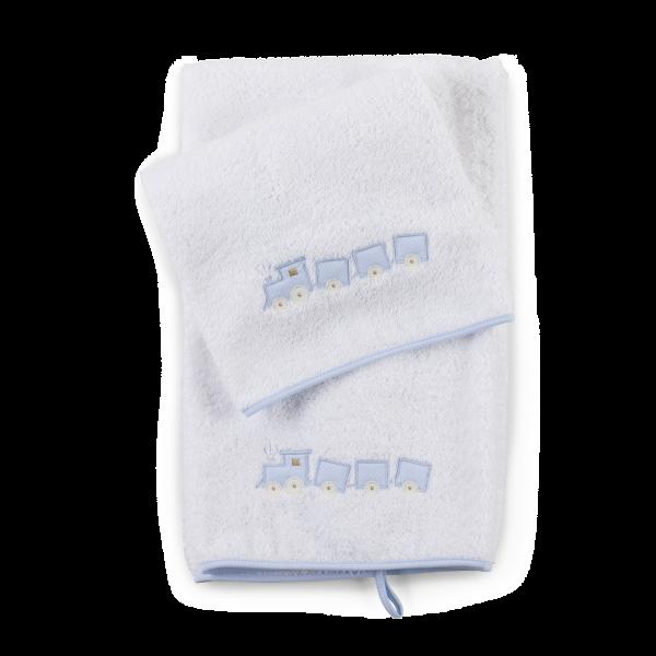 Set asciugamani con ricamo trenino